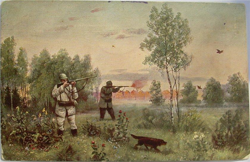 Старинные охотничьи открытки, анимации ребенка