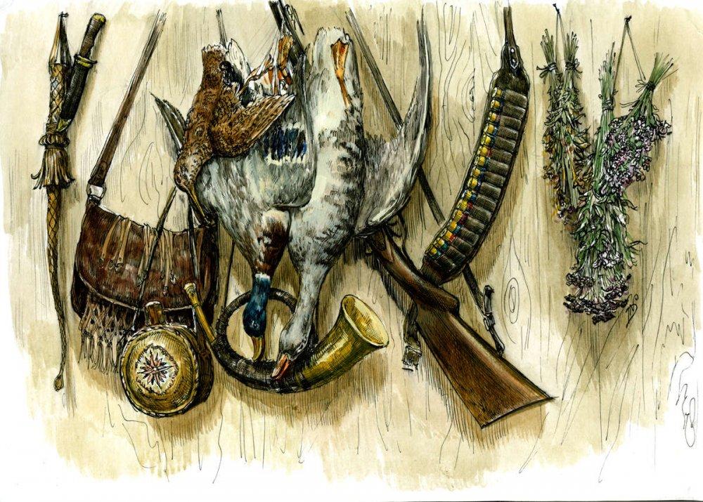 Открытка на тему охота и рыбалка, жене
